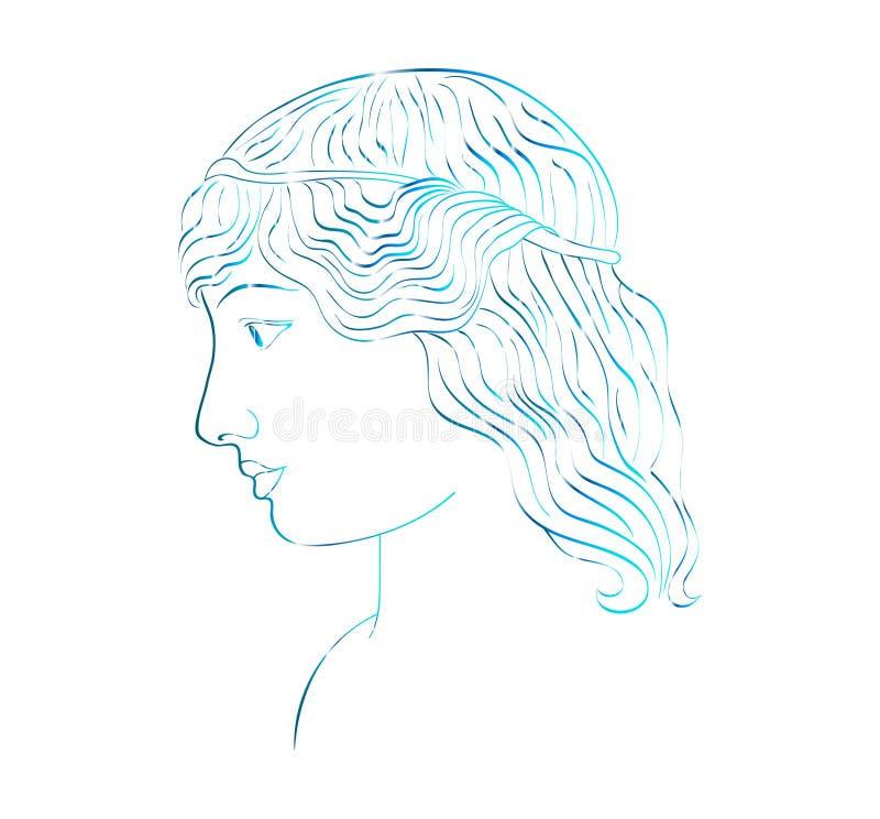 Het profiel van een vector van de meisjesschets royalty-vrije illustratie