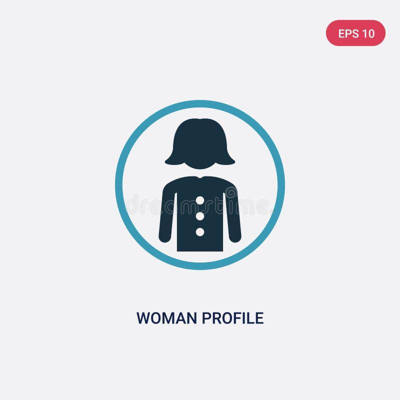 Het profiel vectorpictogram van de twee kleurenvrouw van mensenconcept het geïsoleerde blauwe vector het tekensymbool van het vro royalty-vrije illustratie