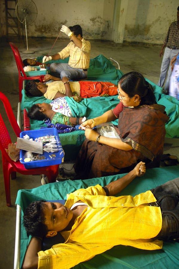 Het Programma van de Schenking van het bloed in India. royalty-vrije stock foto's