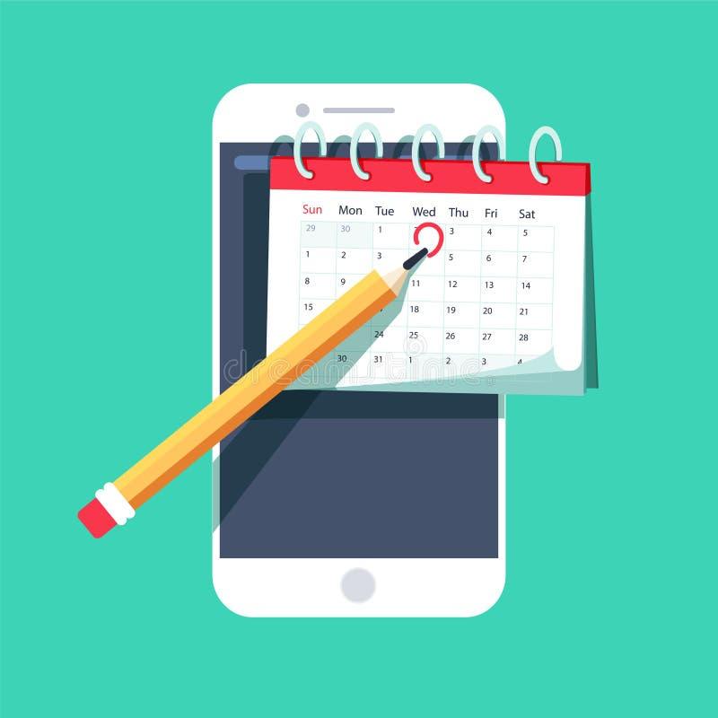 Het programma van de tekenkalender op mobiel Smartphone-belangrijk apparaat dateert de organisatorplan van de herinneringstijd stock illustratie
