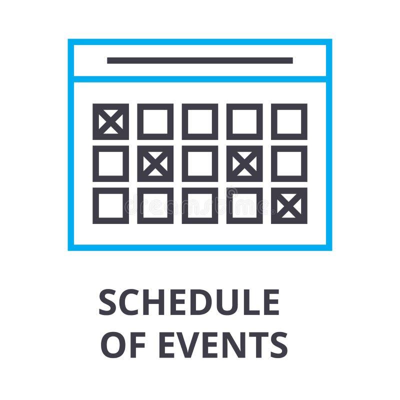 Het programma van gebeurtenissen verdunt lijnpictogram, teken, symbool, illustation, lineair concept, vector vector illustratie