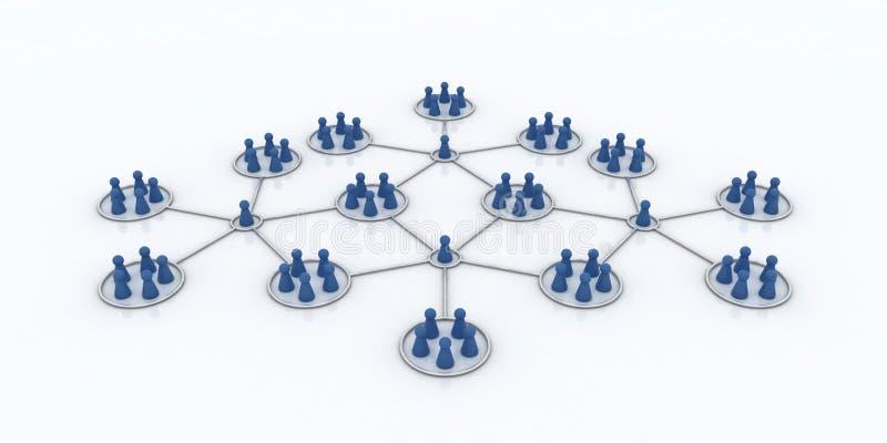 Het programma van het filiaal. Netwerk. Blauwe Pictogrammen. vector illustratie