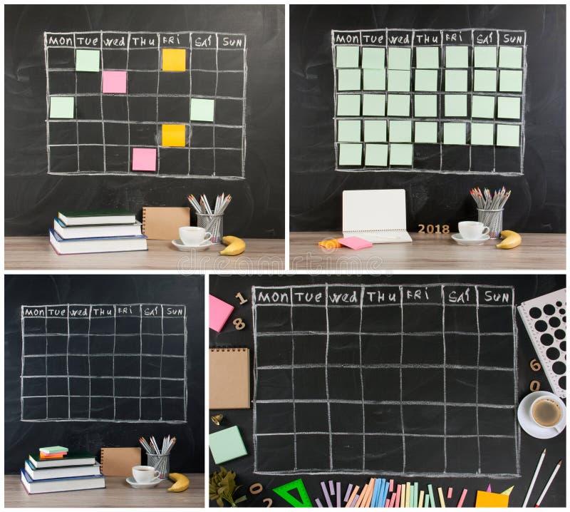 Het programma van het nettijdschema met kantoorbehoeften op zwarte bordrug royalty-vrije stock foto's