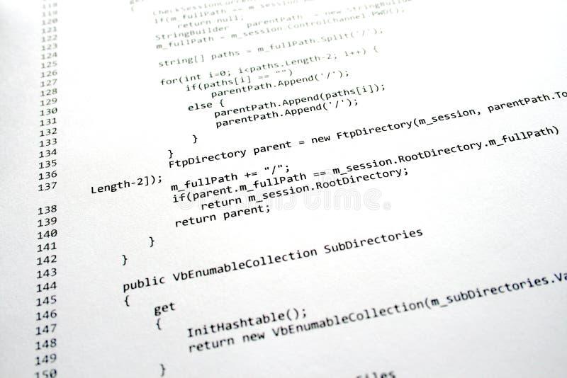 Het programmacode van de software stock foto