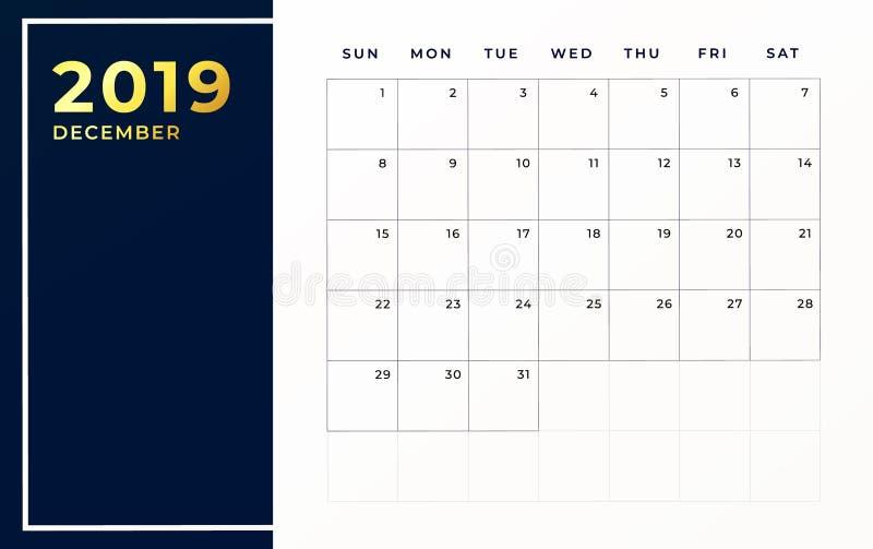 Het programmamalplaatje van december 2019 Weekbegin op zondag lege kalendermaand stock illustratie