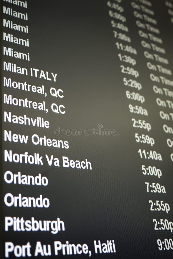 Het programmaraad van de vlucht stock afbeelding