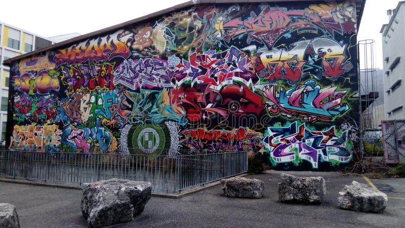 Het x-Project Biel Bienne van de graffitimuur stock foto