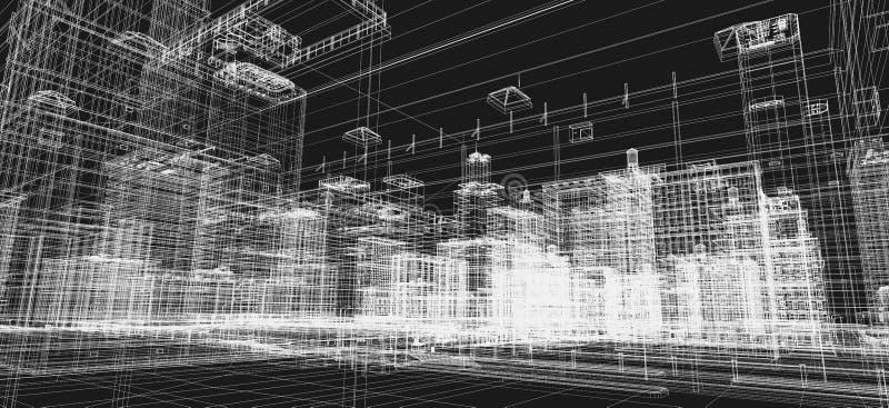 Het project van stadsgebouwen, 3d wireframedruk, stedelijk plan Architectuur vector illustratie
