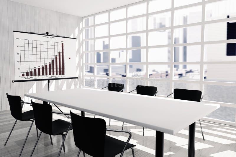 Het projectiescherm, Lijst en Stoelen in Bureauzaal vector illustratie