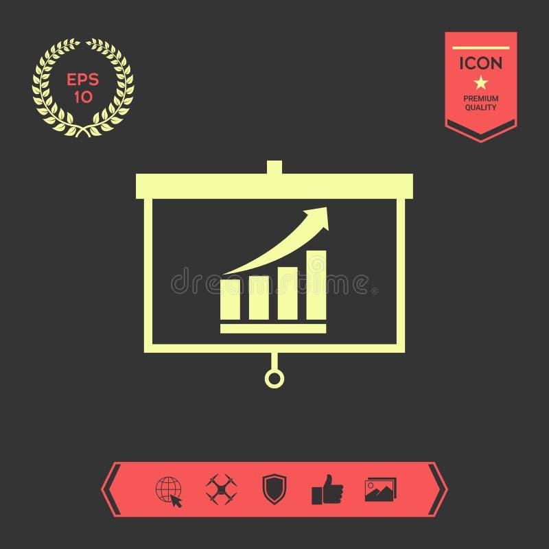 Het projectorscherm met het Kweken van grafische bars Grafische elementen voor uw ontwerp stock illustratie