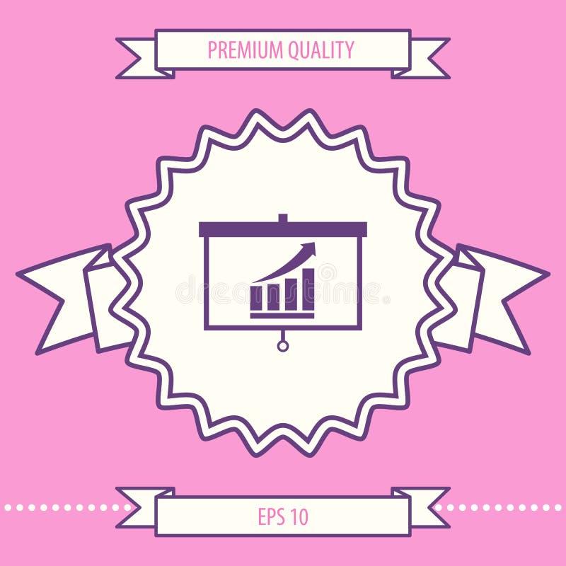 Het projectorscherm met het Kweken van grafische bars Grafische elementen voor uw ontwerp royalty-vrije illustratie