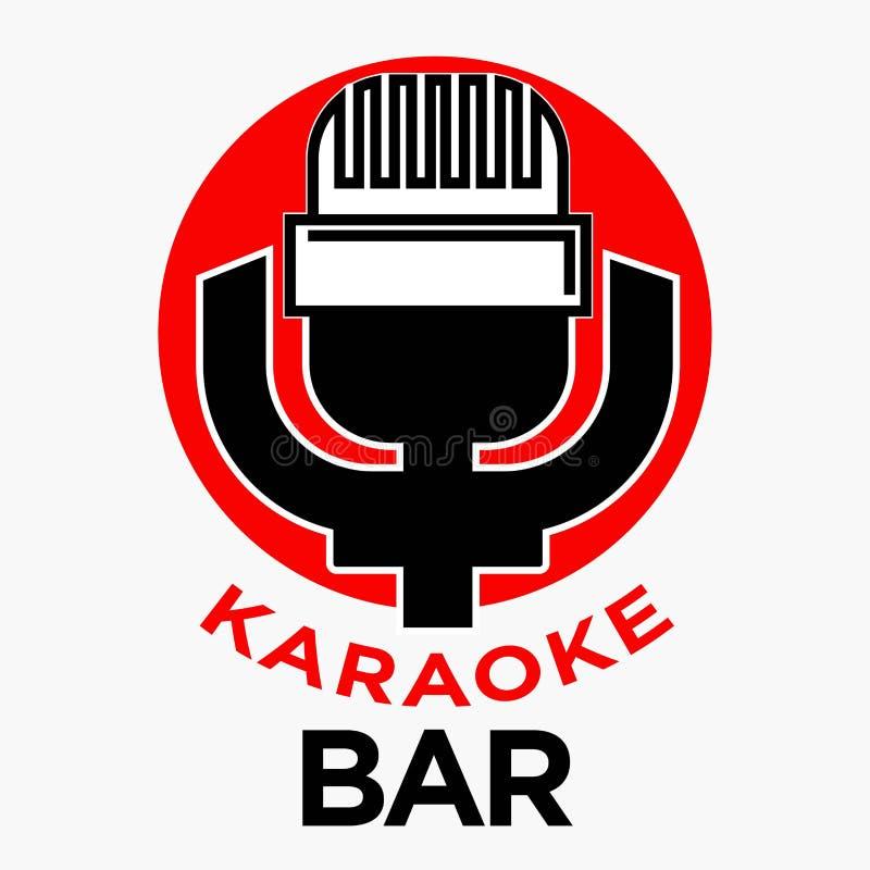 Het promotieembleem van de karaokebar met retro microfoonillustratie stock illustratie