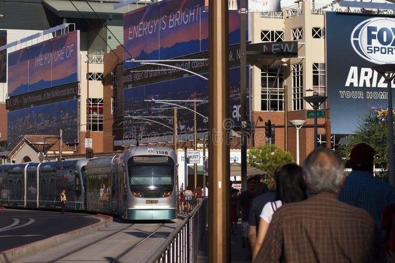 Het Prosportengebied van de binnenstad in Phoenix, Arizona stock afbeelding