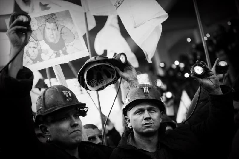 Het Protest actie-van staking van Silezische mijnwerkers stock afbeelding