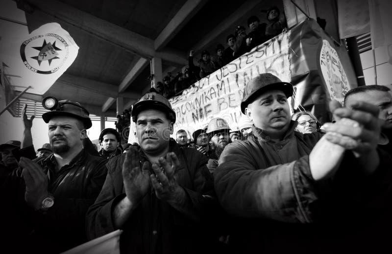 Het Protest actie-van staking van Silezische mijnwerkers stock fotografie
