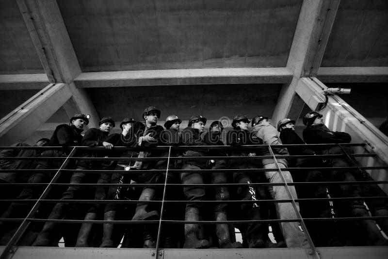 Het Protest actie-van staking van Silezische mijnwerkers stock foto's
