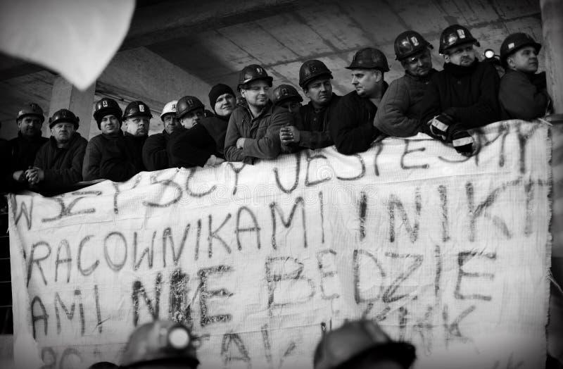Het Protest actie-van staking van Silezische mijnwerkers royalty-vrije stock afbeeldingen