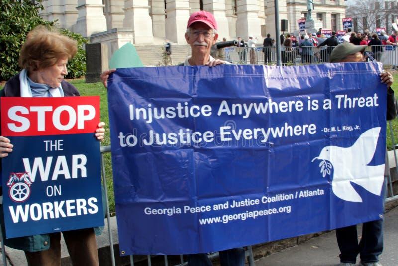 Het Protest Maart van de pro-arbeid in Atlanta stock afbeeldingen