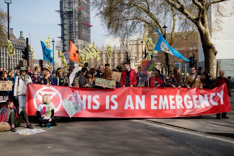 Het Protest van de Exctintionopstand in Centraal Londen royalty-vrije stock fotografie