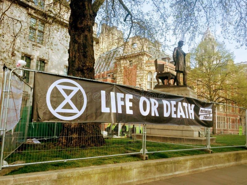 Het protest van de uitstervenopstand in Londen het UK stock fotografie