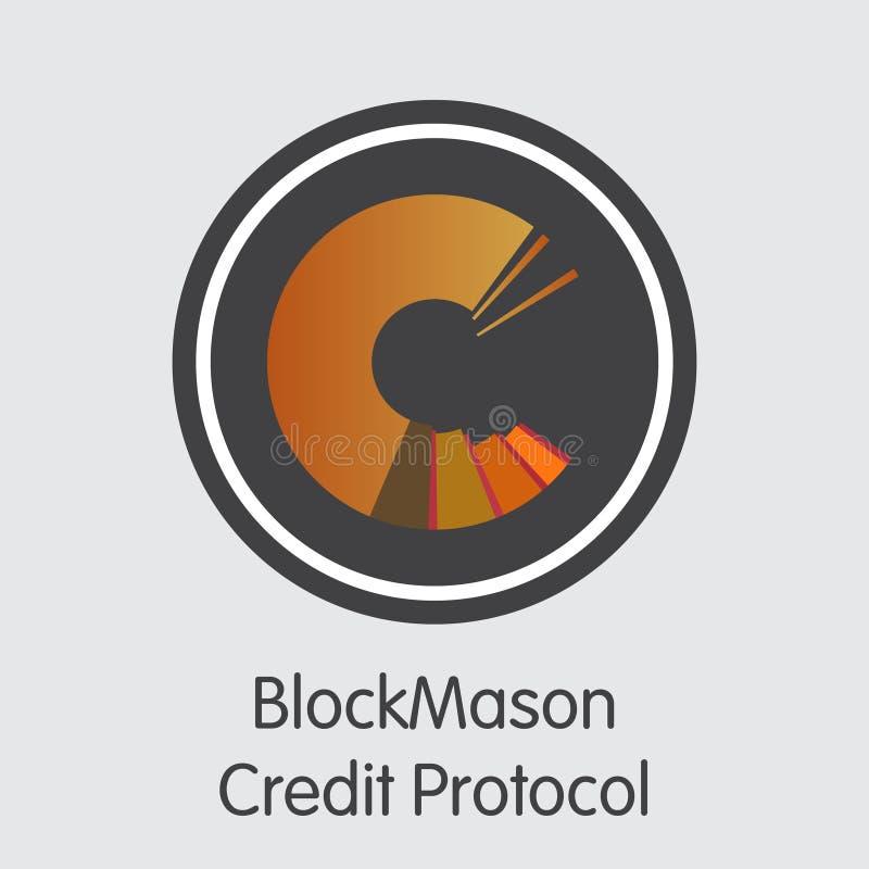 Het Protocol van het Blockmasonkrediet - Cryptografisch Muntsymbool royalty-vrije illustratie