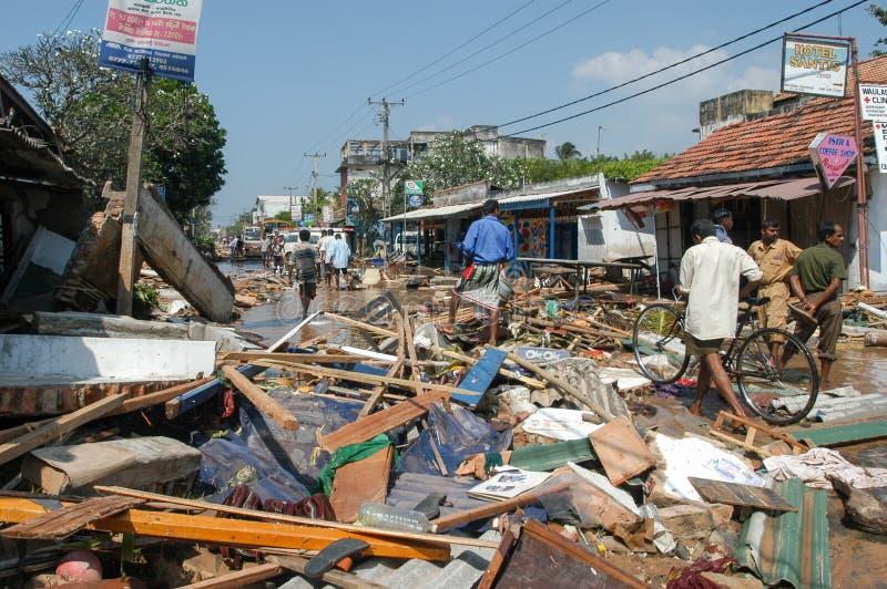 Het puin na tsunami in Hikkaduwa in Sri Lanka royalty-vrije stock fotografie