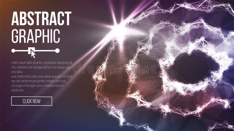 Het punt en de Kromme construeerden het Gebied Wireframe Verbindingsstructuur Vector Abstract Grafisch 3D Netontwerp vector illustratie