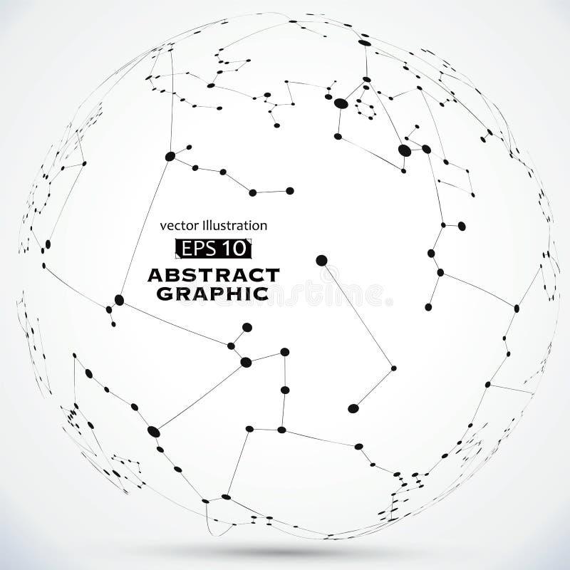 Het punt en de lijn construeerden de technologische betekenis abstracte illustratie royalty-vrije stock fotografie