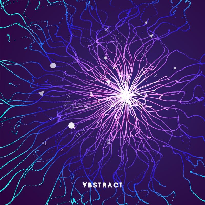 Het punt explodeert Serie met dynamische uitgezonden deeltjes 3D Technologiestijl abstracte achtergrond Vector illustratie royalty-vrije illustratie