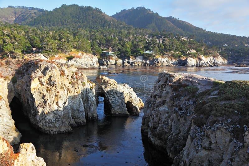 Het Punt Lobos van de reserve op de zonsondergang royalty-vrije stock foto