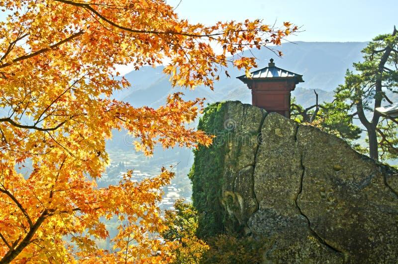 Het punt van de oriëntatiepuntmening in Yamadera-Tempel stock foto's