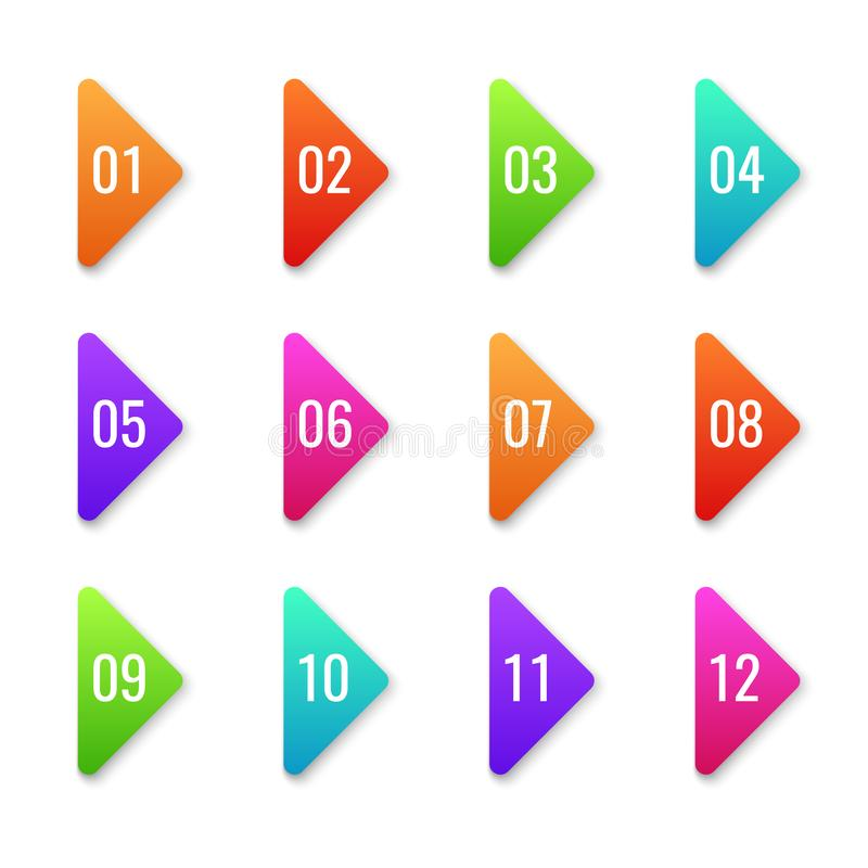Het punt van de pijlkogel De kleurrijke pers bullets van de vormtellers van de malplaatjerichting van de het aantalcurseur de vol stock illustratie