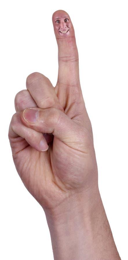 Het Punt van de vinger, Punt, Gelukkig het Glimlachen Geïsoleerdr Gezicht royalty-vrije stock foto