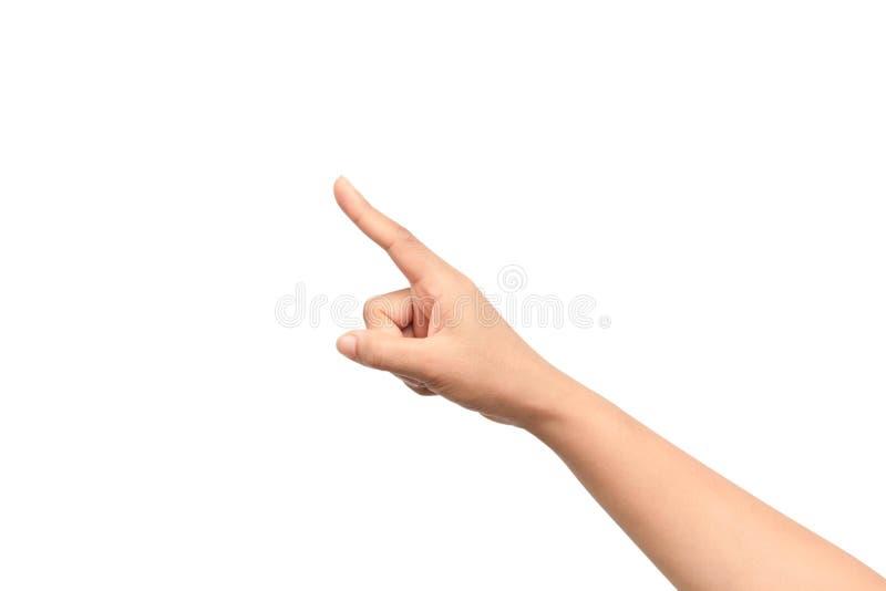 Het punt van de vrouwenhand op vinger op een witte achtergrond wordt geïsoleerd die stock afbeelding