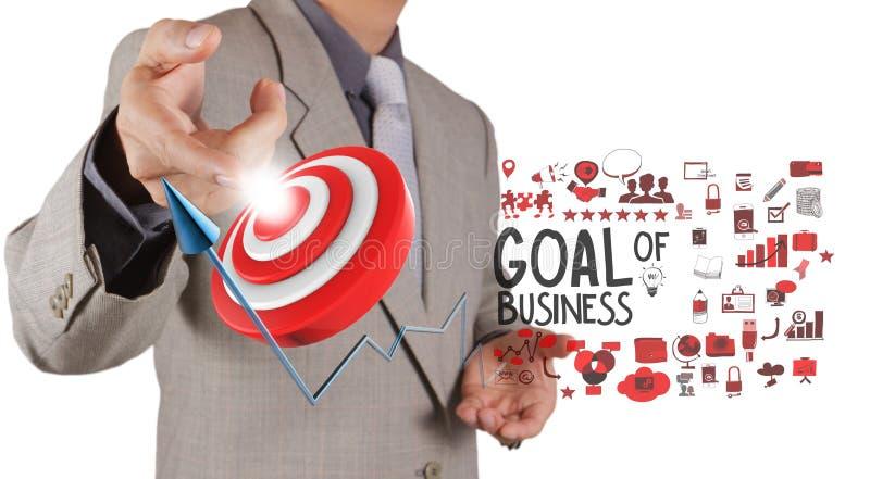 Het punt van de zakenmanhand aan doel van zaken royalty-vrije stock afbeelding