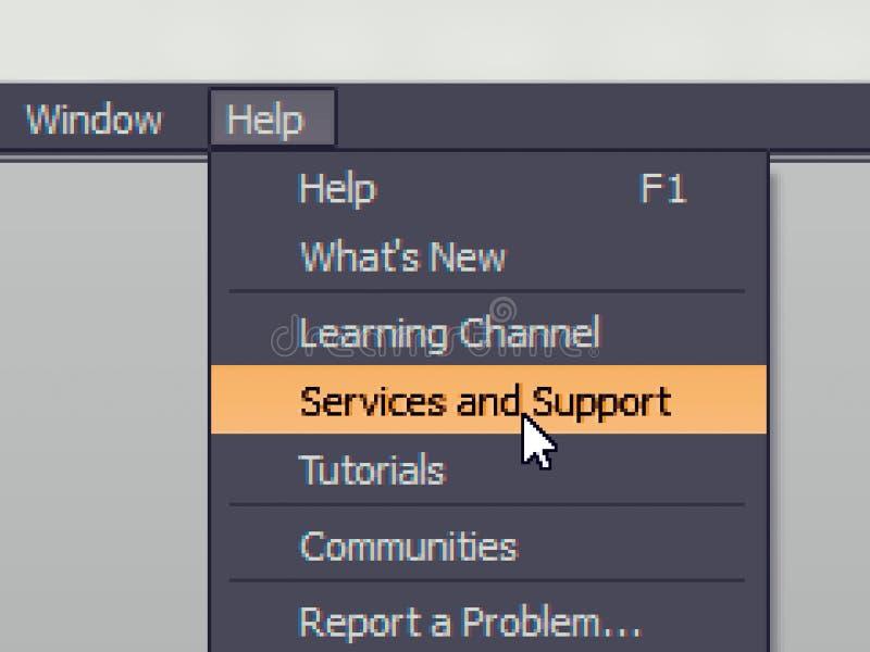 Het punt van het softwaremenu met ondersteunende dienstbevel stock afbeeldingen