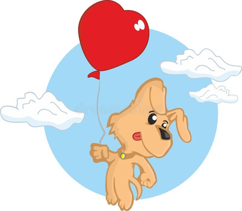Het puppy van de de valentijnskaartendag van de liefdehond stock afbeelding