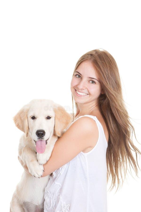 Het puppyhond van het huisdierengolden retriever stock fotografie