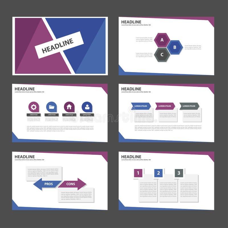 Het purpere Blauwe infographic element en pictogram vlakke ontwerp van presentatiemalplaatjes plaatste voor het pamfletwebsite va stock illustratie
