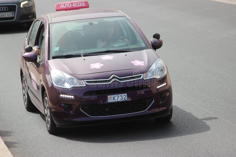 Het purpere Educatieve Voertuig van Citroën C3 in Monte Carlo, Monaco stock foto's