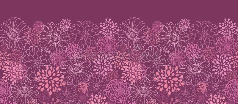 Het purpere gebied bloeit horizontaal naadloos patroon stock illustratie