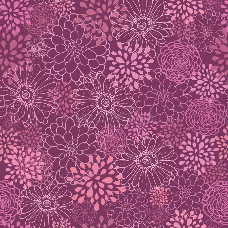 Het purpere gebied bloeit naadloze patroonachtergrond vector illustratie