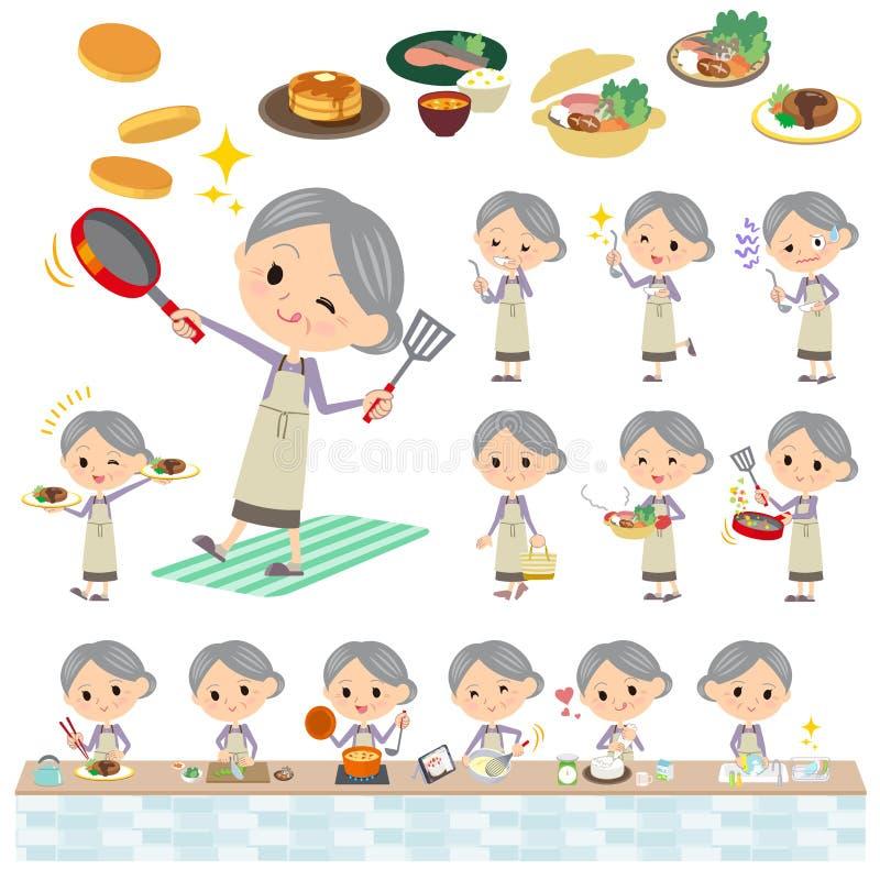 Het purpere klerengrootmoeder koken stock illustratie