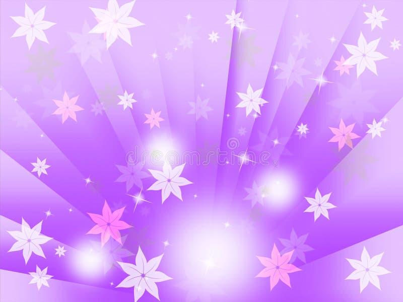 Het purpere Licht en de Stralen Bellen van Achtergrondmiddelenbloemen royalty-vrije illustratie