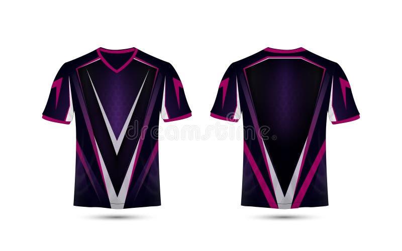 Het purpere, roze en zwarte lay-out van het e-sport malplaatje t-shirtontwerp vector illustratie