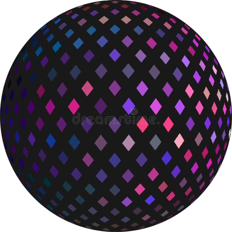 Het purpere roze lilac donkere voorwerp van de mozaïek 3d bol Feestelijke geïsoleerde simbol De flikkering van de discobal stock illustratie