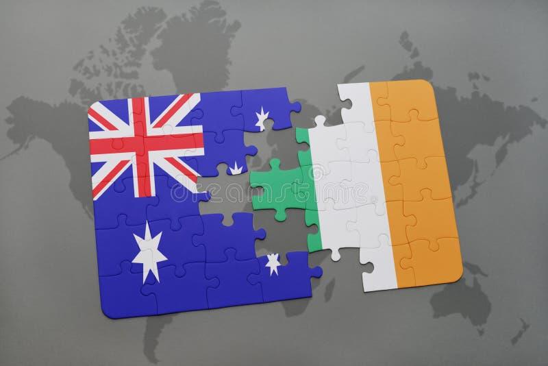 het raadsel met de nationale vlag van Australië en Ierland op een wereld brengen achtergrond in kaart vector illustratie