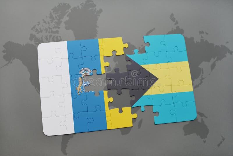 het raadsel met de nationale vlag van Canarische Eilanden en de Bahamas op een wereld brengen achtergrond in kaart stock illustratie