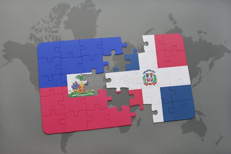 het raadsel met de nationale vlag van de Dominicaanse republiek van Haïti en op een wereld brengt achtergrond in kaart royalty-vrije illustratie