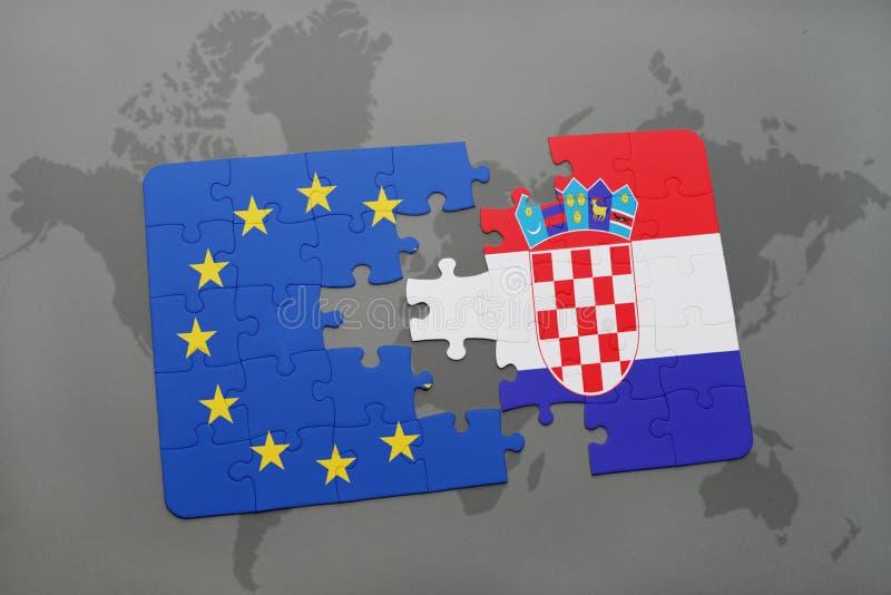 Het raadsel met de nationale vlag van de Europese Unie van Kroatië en op een wereld brengt achtergrond in kaart stock illustratie
